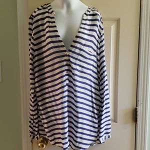 Blus and White Striped Blouse